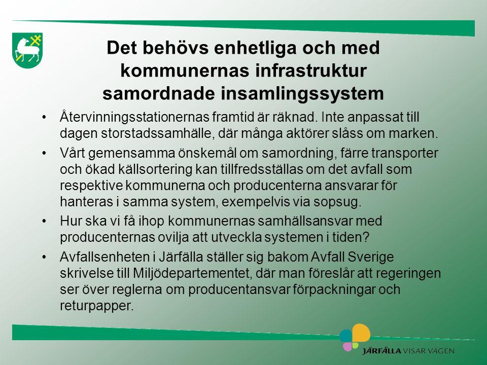 Det behövs enhetliga och med kommunernas infrastruktur samordnade insamlingssystem