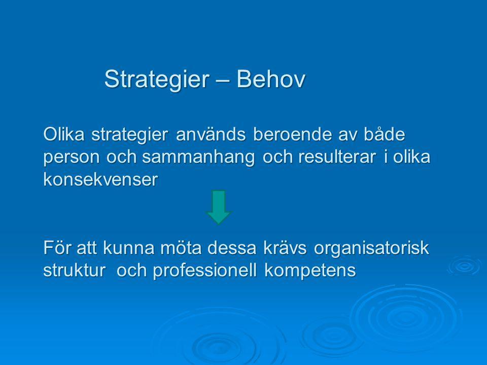 Strategier – Behov Olika strategier används beroende av både person och sammanhang och resulterar i olika konsekvenser.
