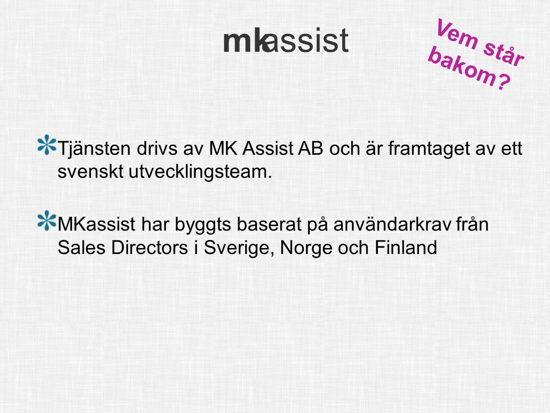 Vem står bakom Tjänsten drivs av MK Assist AB och är framtaget av ett svenskt utvecklingsteam.