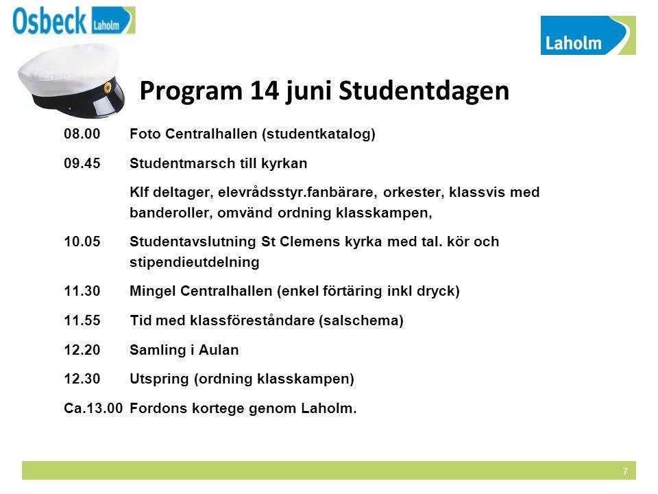 Program 14 juni Studentdagen