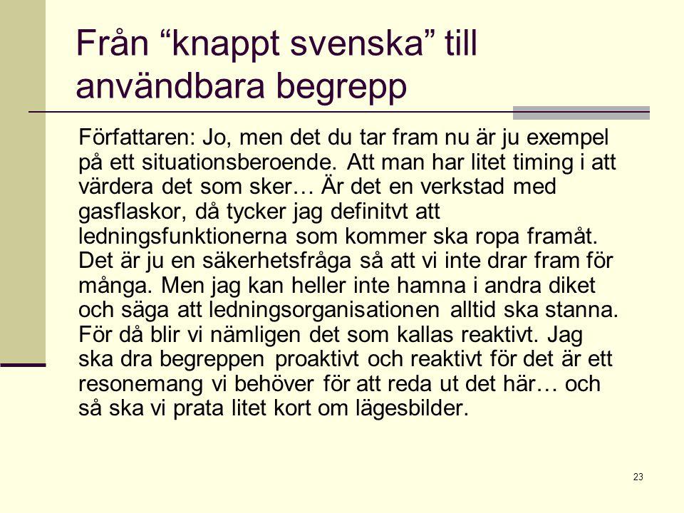 Från knappt svenska till användbara begrepp