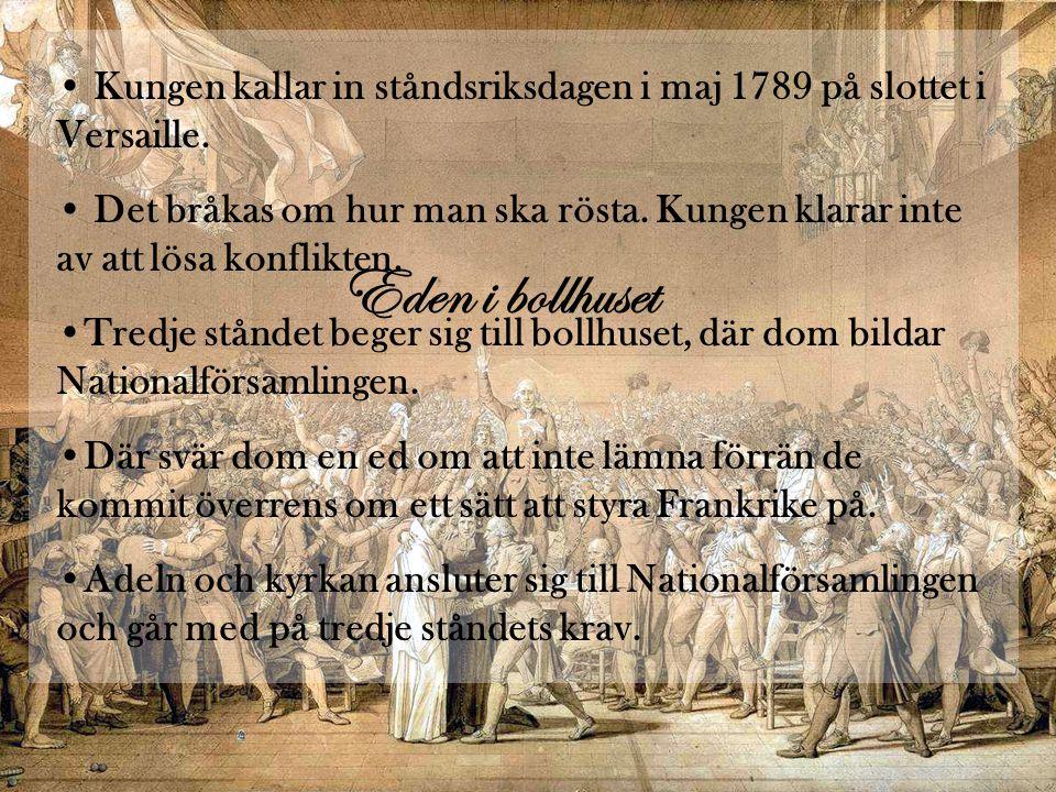 Kungen kallar in ståndsriksdagen i maj 1789 på slottet i Versaille.