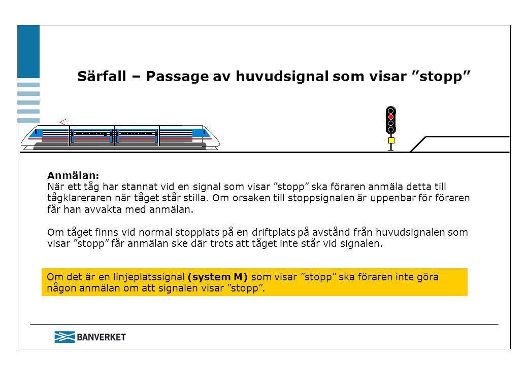 Särfall – Passage av huvudsignal som visar stopp