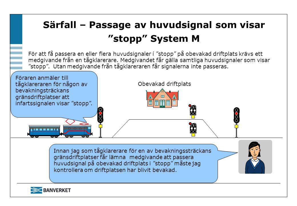 Särfall – Passage av huvudsignal som visar stopp System M