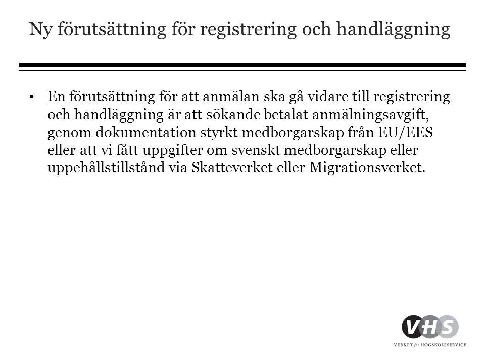 Ny förutsättning för registrering och handläggning