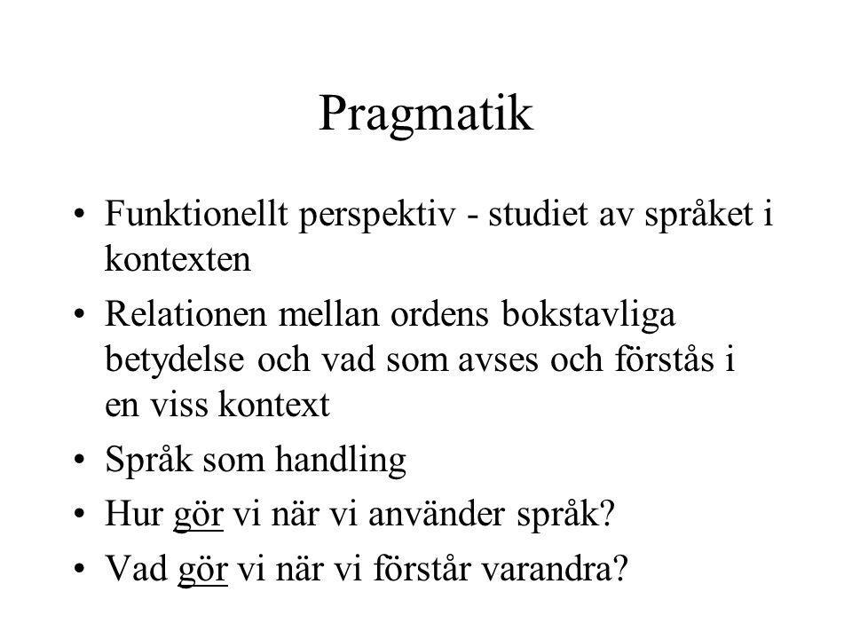 Pragmatik Funktionellt perspektiv - studiet av språket i kontexten