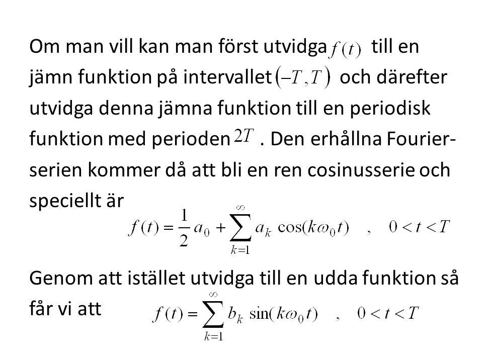 Om man vill kan man först utvidga till en jämn funktion på intervallet och därefter utvidga denna jämna funktion till en periodisk funktion med perioden .