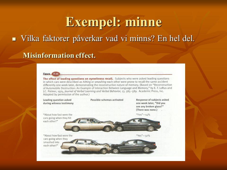 Exempel: minne Vilka faktorer påverkar vad vi minns En hel del.