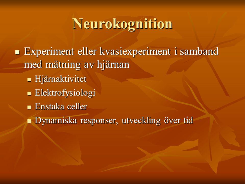 Neurokognition Experiment eller kvasiexperiment i samband med mätning av hjärnan. Hjärnaktivitet. Elektrofysiologi.