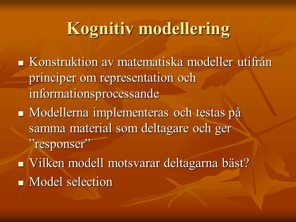 Kognitiv modellering Konstruktion av matematiska modeller utifrån principer om representation och informationsprocessande.