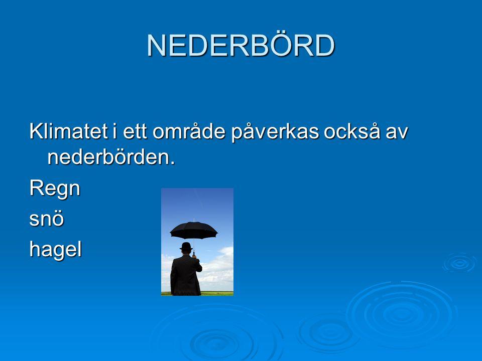 NEDERBÖRD Klimatet i ett område påverkas också av nederbörden. Regn