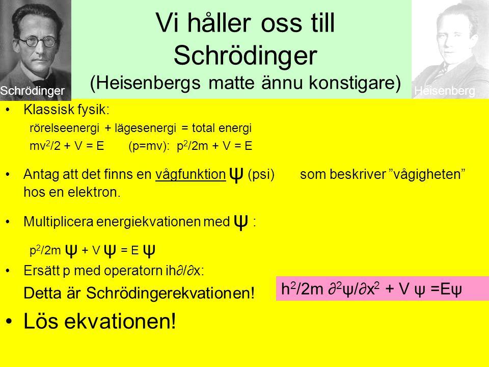 Vi håller oss till Schrödinger (Heisenbergs matte ännu konstigare)