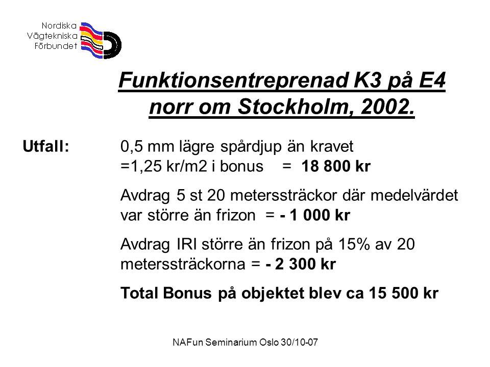 Funktionsentreprenad K3 på E4 norr om Stockholm, 2002.