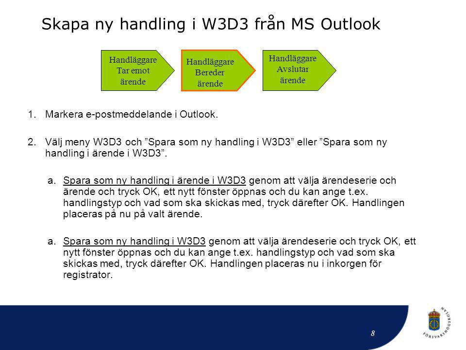 Skapa ny handling i W3D3 från MS Outlook