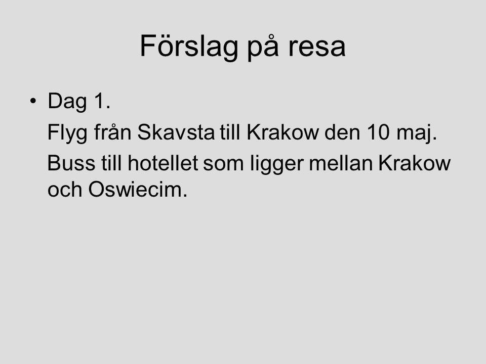 Förslag på resa Dag 1. Flyg från Skavsta till Krakow den 10 maj.