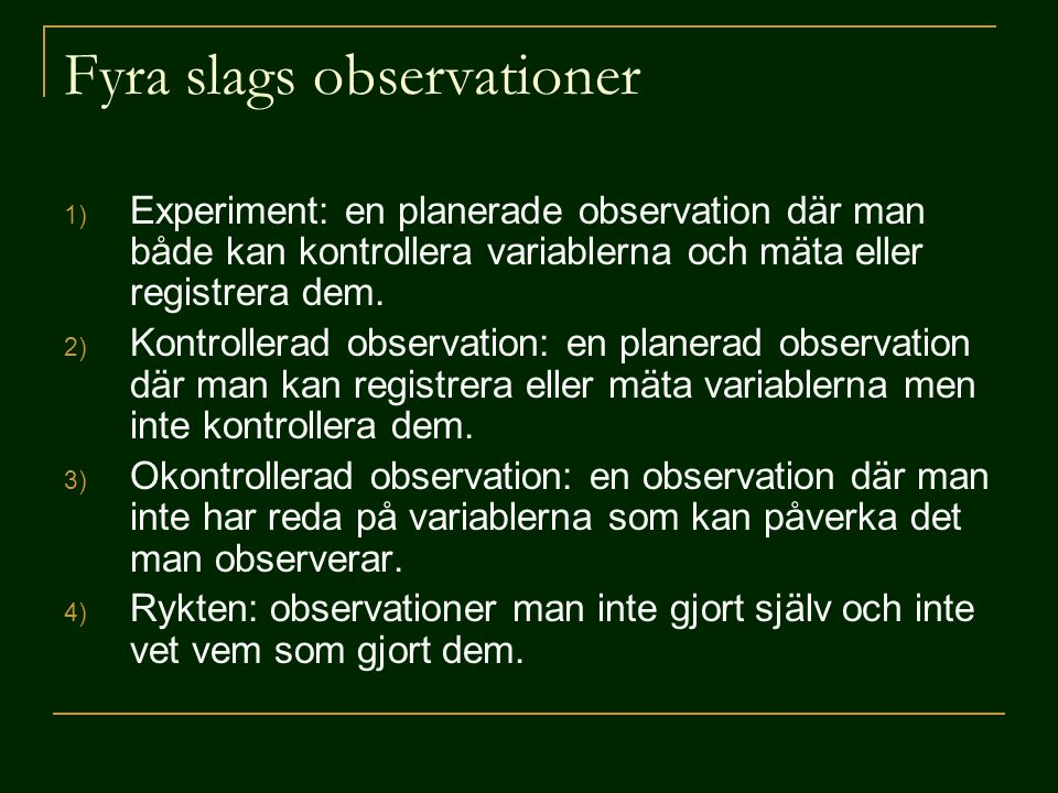 Fyra slags observationer