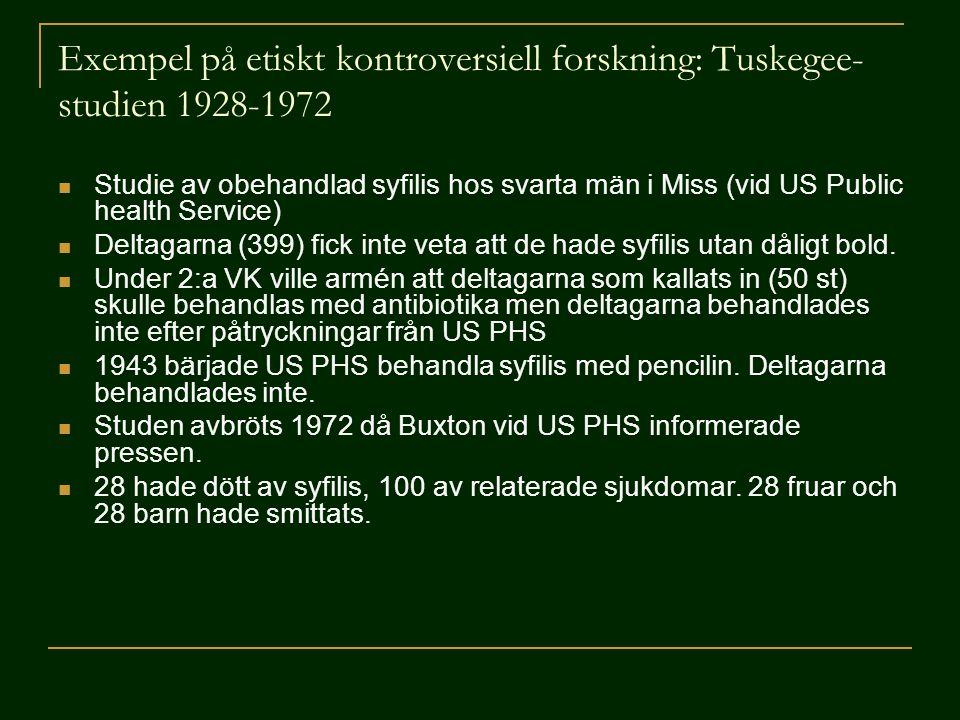 Exempel på etiskt kontroversiell forskning: Tuskegee-studien 1928-1972