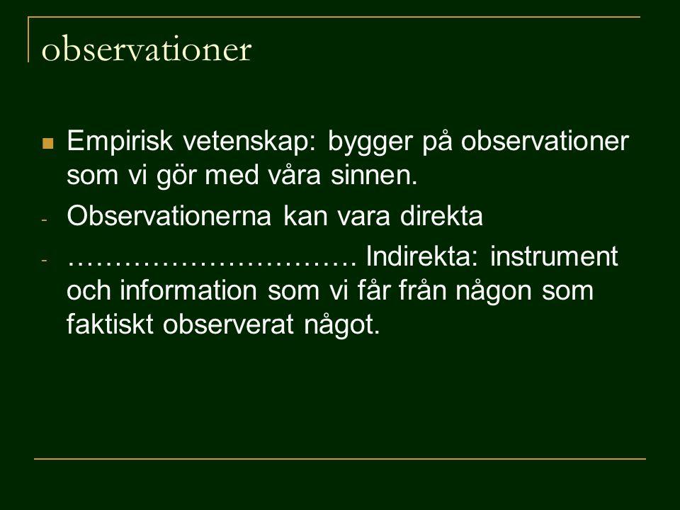 observationer Empirisk vetenskap: bygger på observationer som vi gör med våra sinnen. Observationerna kan vara direkta.