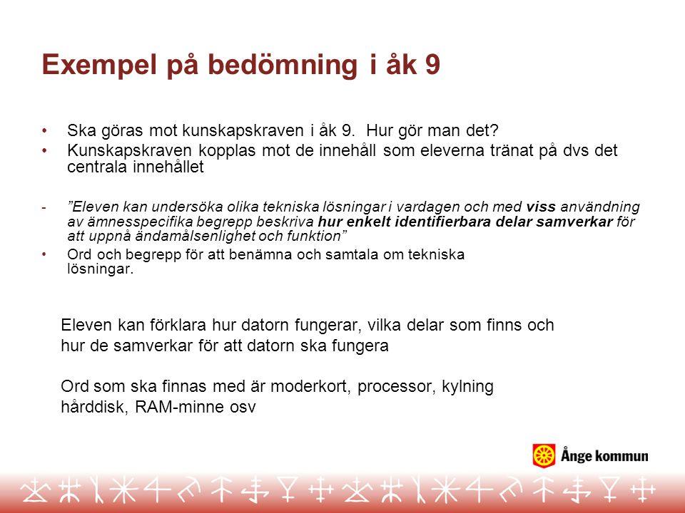 Exempel på bedömning i åk 9