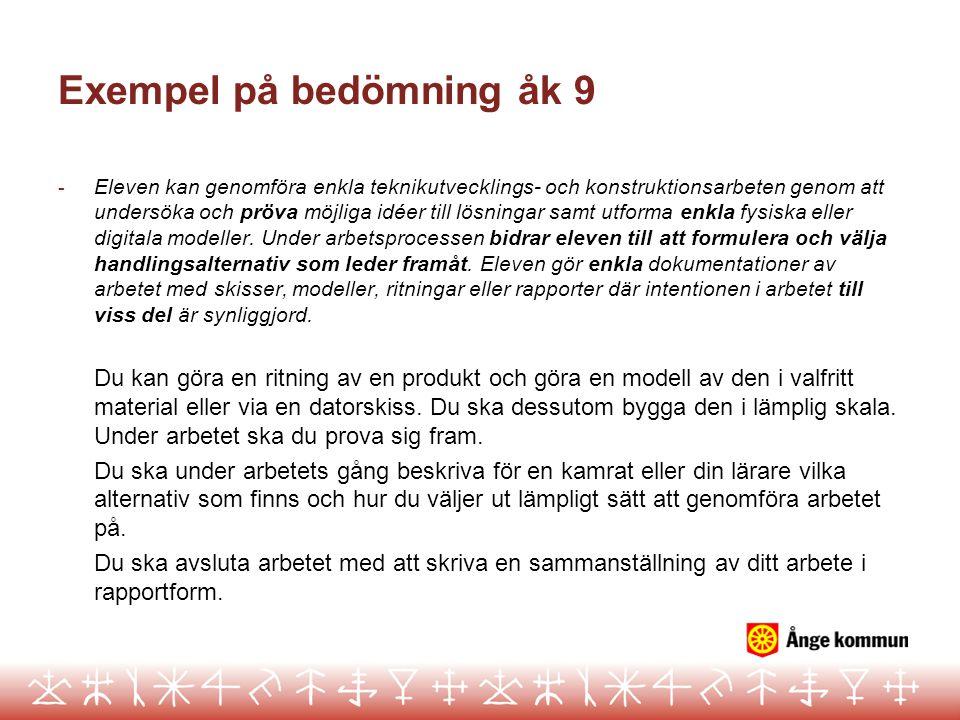 Exempel på bedömning åk 9