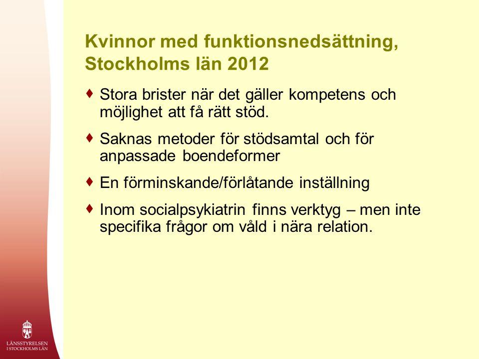 Kvinnor med funktionsnedsättning, Stockholms län 2012