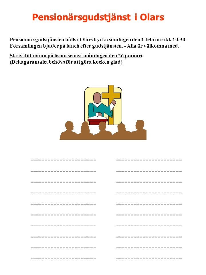 Pensionärsgudstjänst i Olars