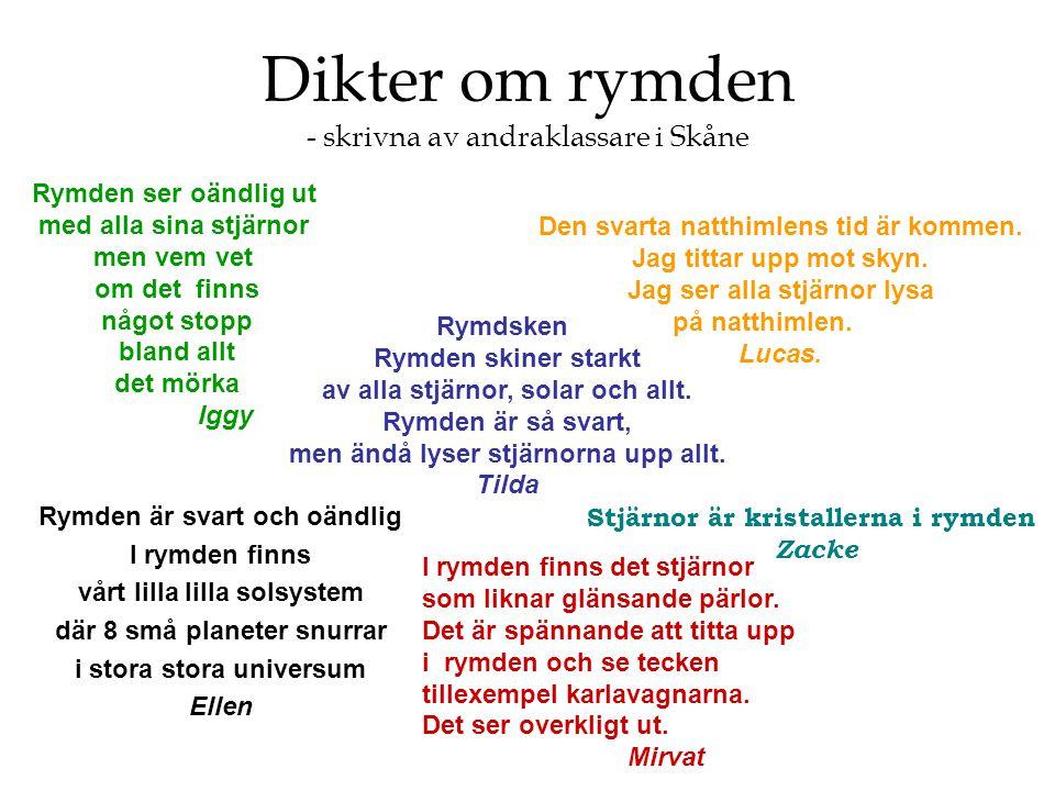 Dikter om rymden - skrivna av andraklassare i Skåne