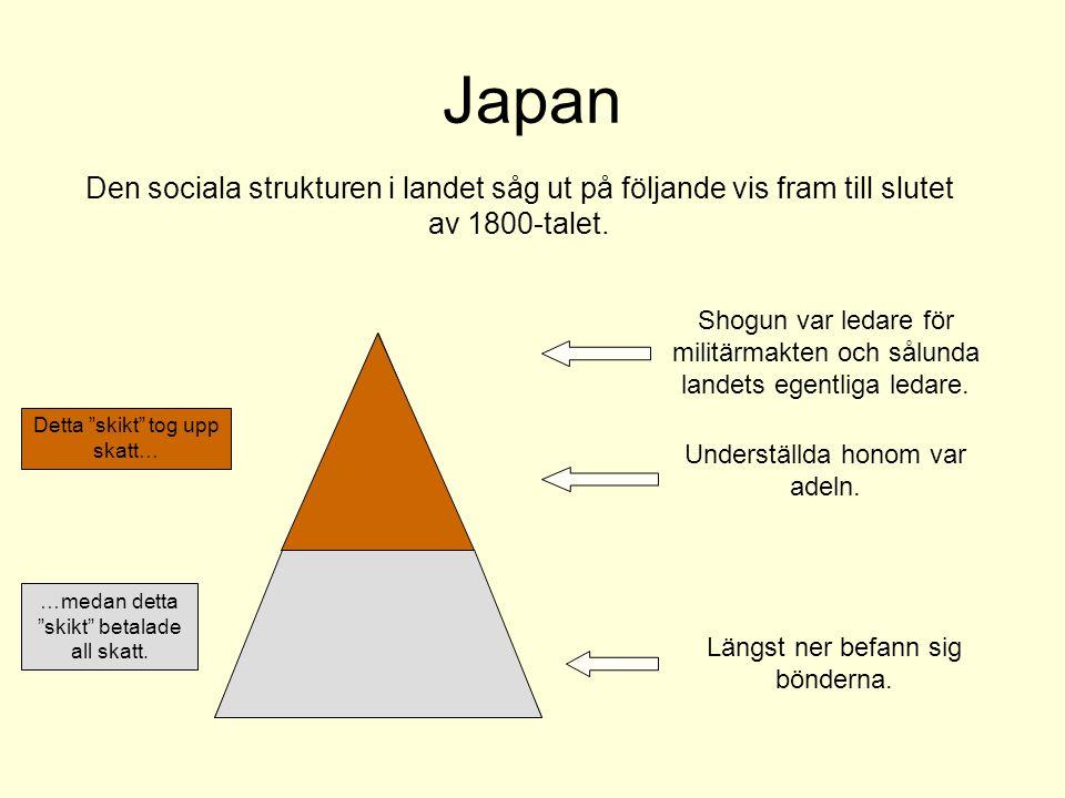 Japan Den sociala strukturen i landet såg ut på följande vis fram till slutet av 1800-talet.