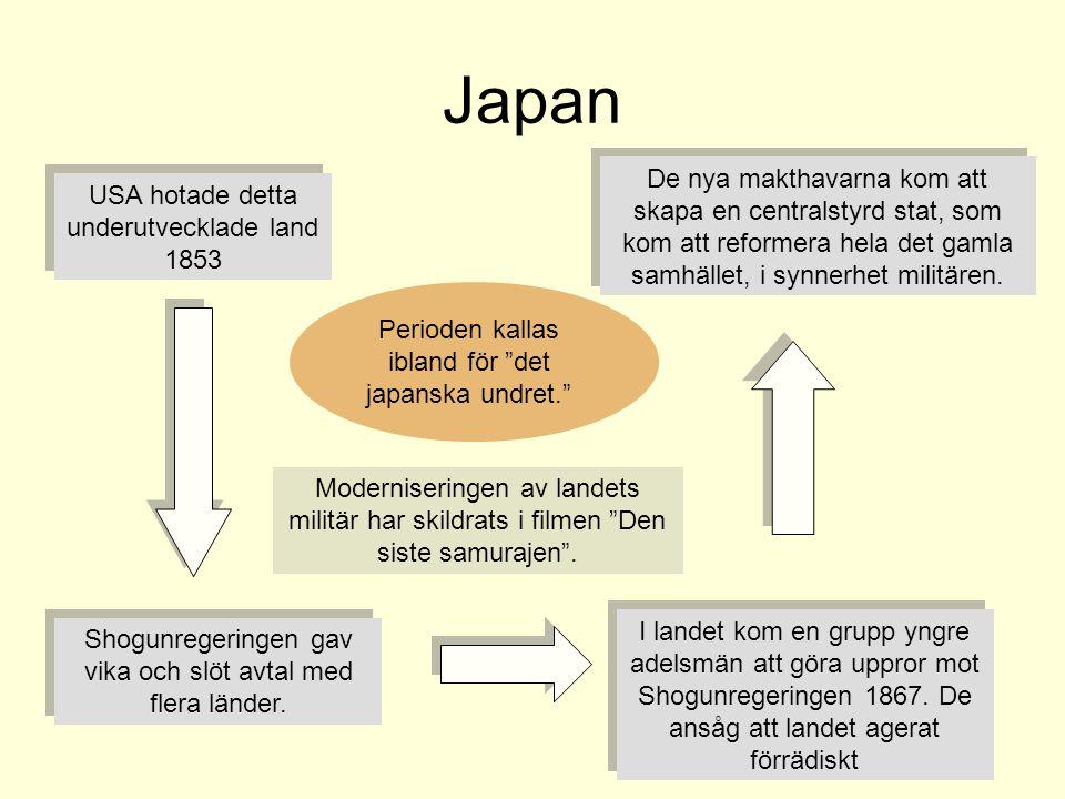 Japan De nya makthavarna kom att skapa en centralstyrd stat, som kom att reformera hela det gamla samhället, i synnerhet militären.