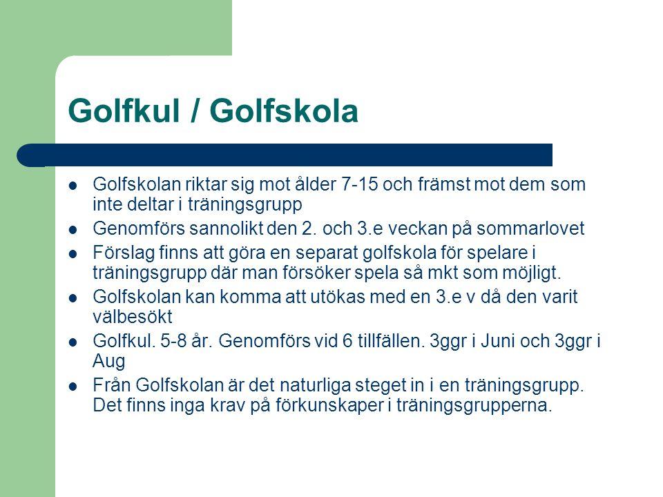 Golfkul / Golfskola Golfskolan riktar sig mot ålder 7-15 och främst mot dem som inte deltar i träningsgrupp.