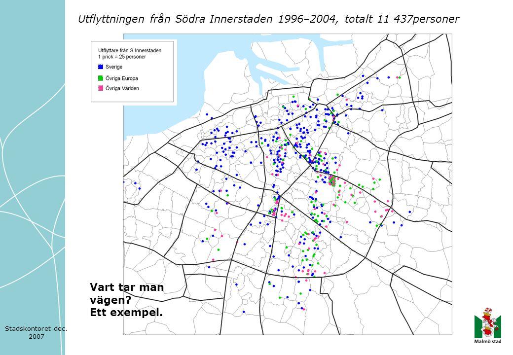 Utflyttningen från Södra Innerstaden 1996–2004, totalt 11 437personer