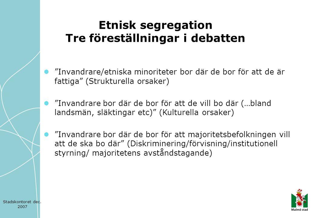 Etnisk segregation Tre föreställningar i debatten