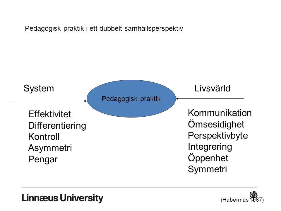 System Livsvärld Effektivitet Differentiering Kontroll Asymmetri