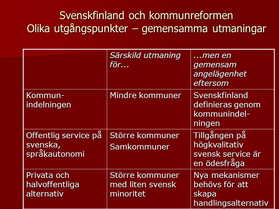 Svenskfinland och kommunreformen Olika utgångspunkter – gemensamma utmaningar