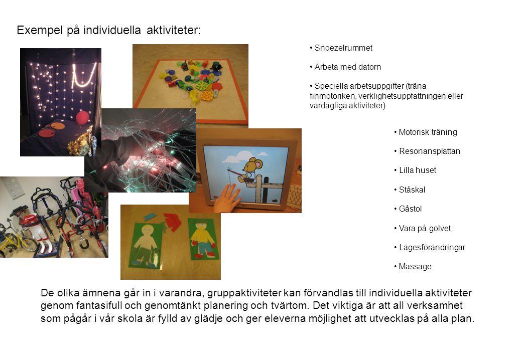 Exempel på individuella aktiviteter: