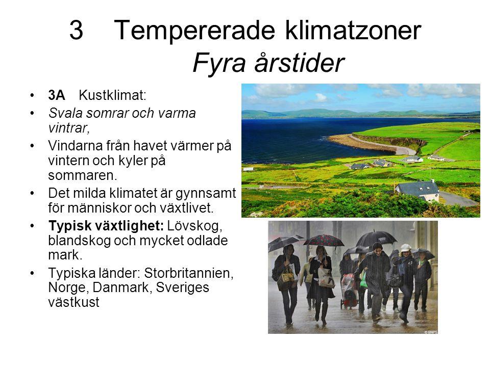 Tempererade klimatzoner Fyra årstider