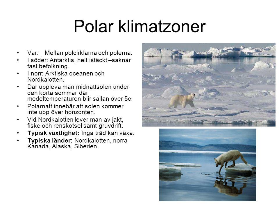 Polar klimatzoner Var: Mellan polcirklarna och polerna: