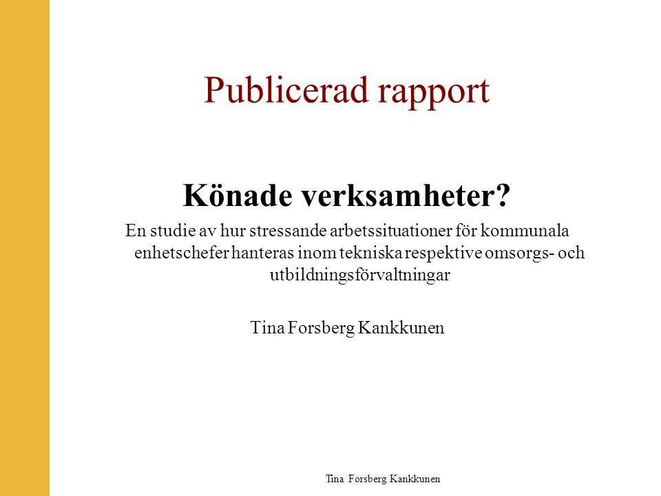 Publicerad rapport Könade verksamheter