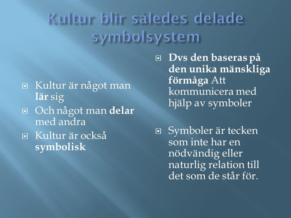 Kultur blir således delade symbolsystem
