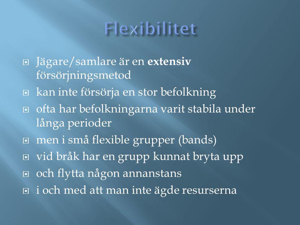 Flexibilitet Jägare/samlare är en extensiv försörjningsmetod
