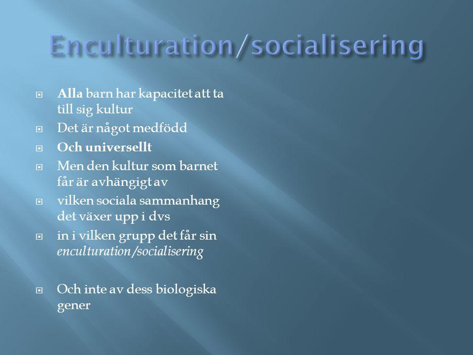 Enculturation/socialisering