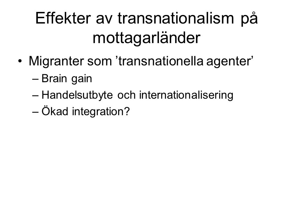 Effekter av transnationalism på mottagarländer