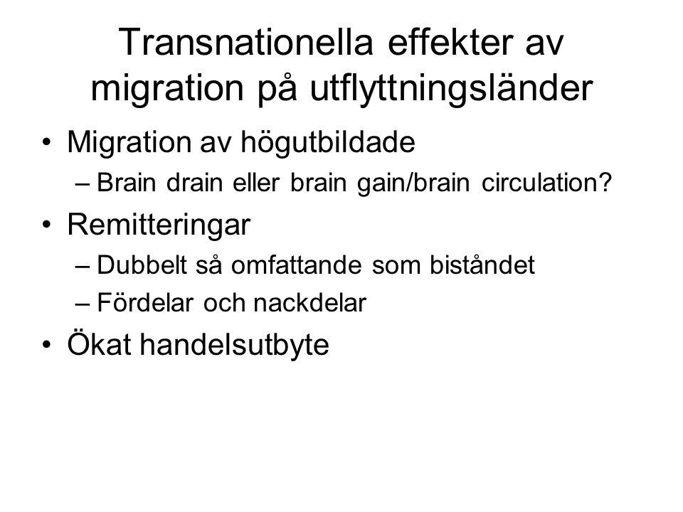 Transnationella effekter av migration på utflyttningsländer