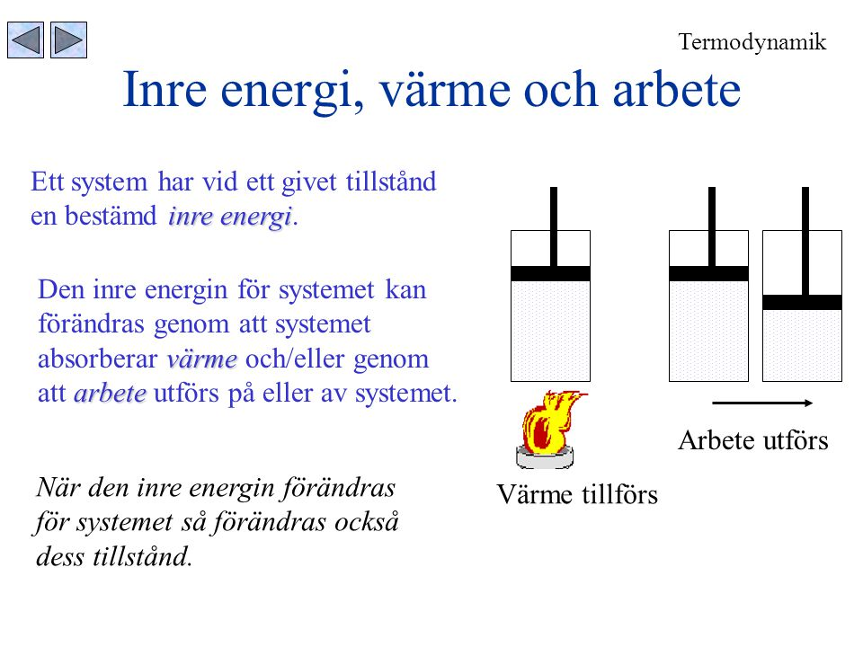 Inre energi, värme och arbete