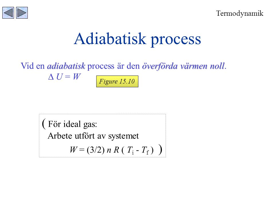 Adiabatisk process ( För ideal gas: