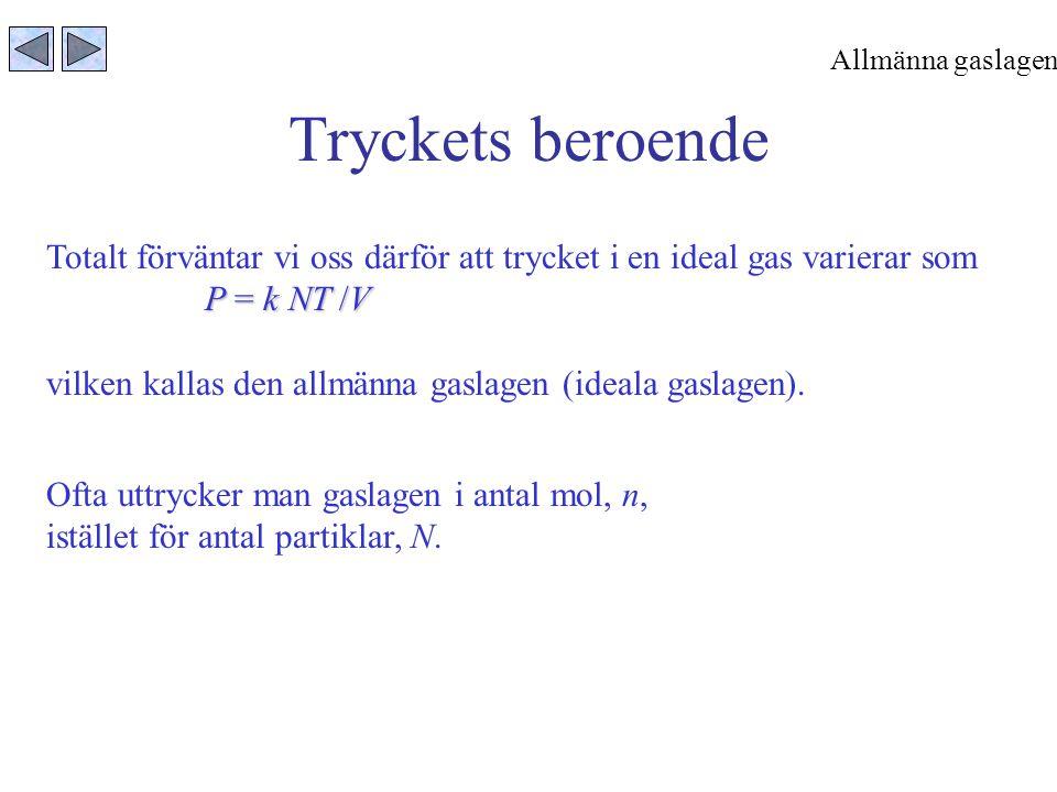Allmänna gaslagen Tryckets beroende. Totalt förväntar vi oss därför att trycket i en ideal gas varierar som.