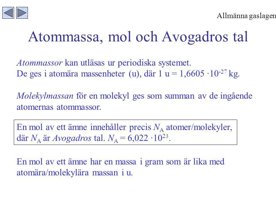 Atommassa, mol och Avogadros tal