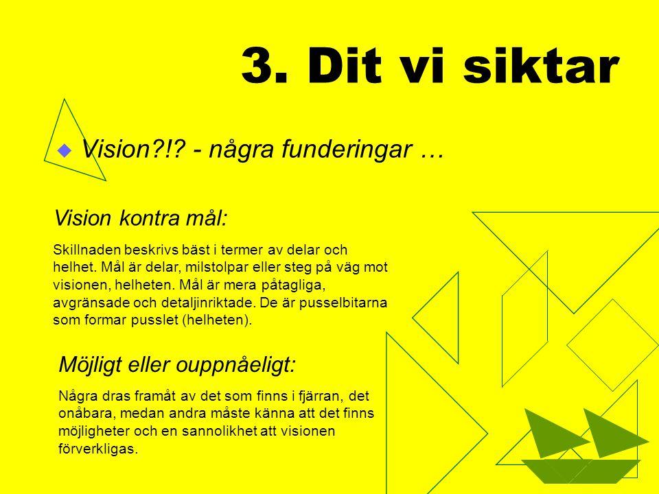 3. Dit vi siktar Vision ! - några funderingar … Vision kontra mål: