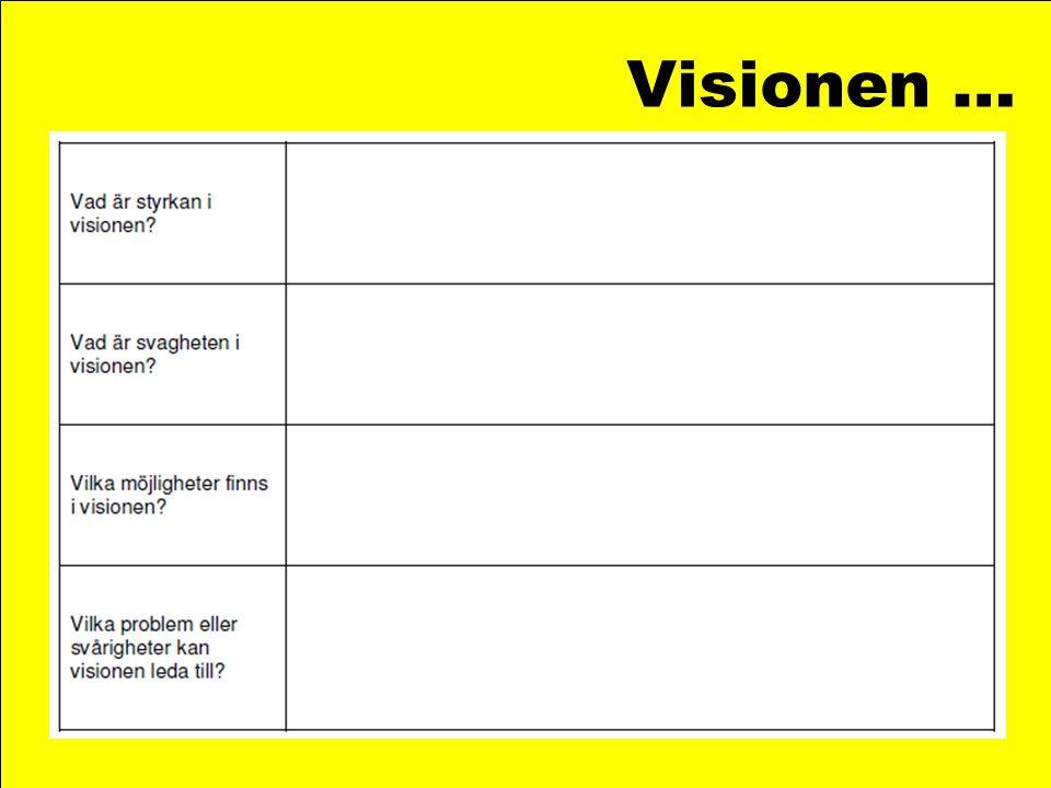 Visionen … Underlag för att kolla av visionen …