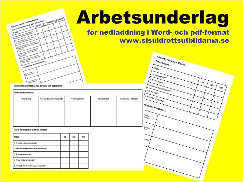 Arbetsunderlag för nedladdning i Word- och pdf-format